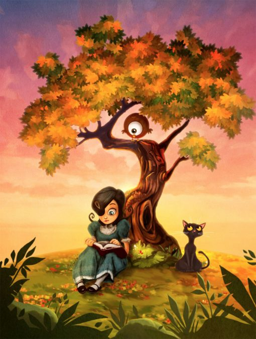 Carmesina chica sentada leyendo un libro bajo un árbol atardecer serafín, los colores olvidados. favid g. forés, ilustración libro de relatos juvenil