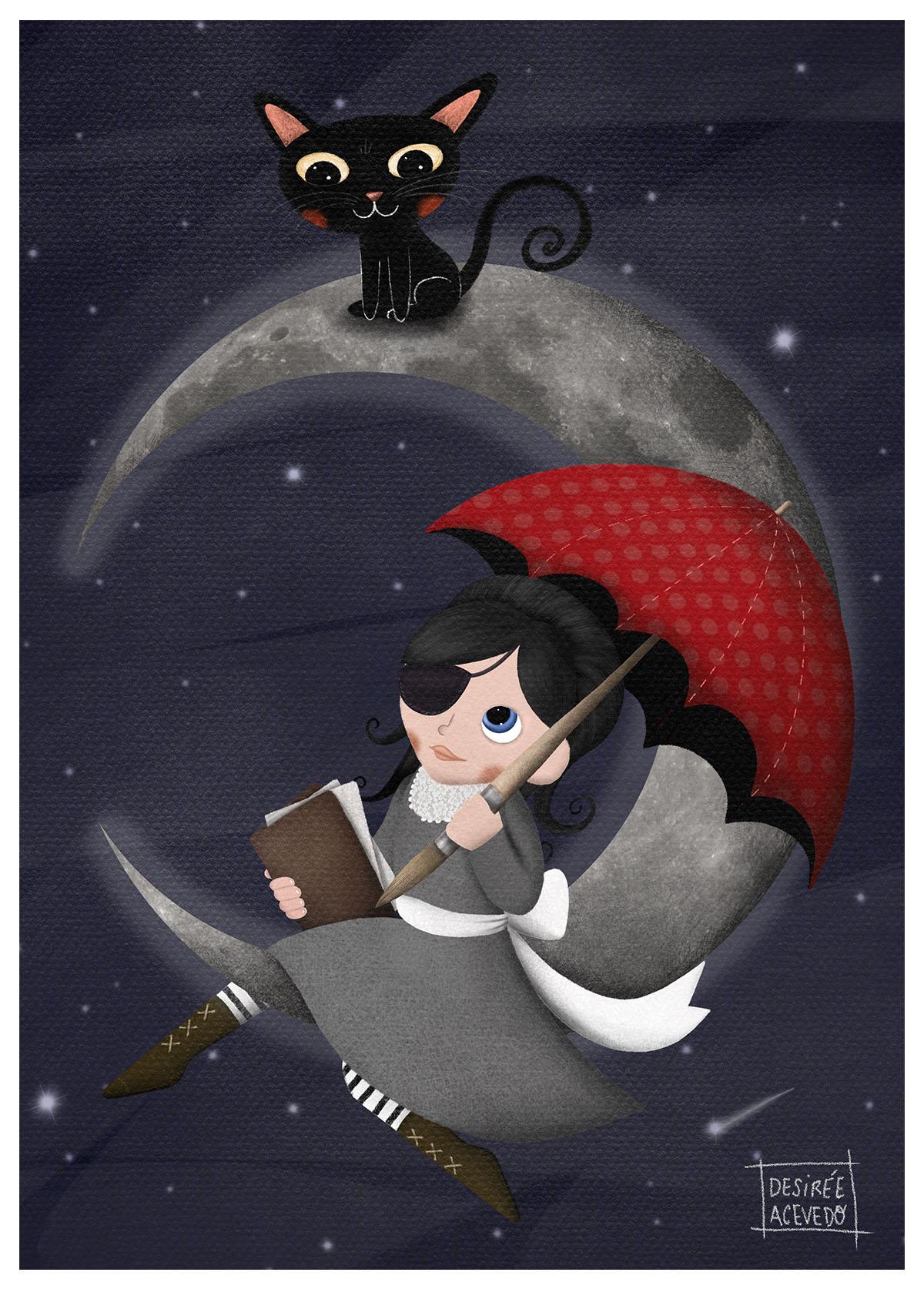 ilustración homenaje de Desiree Acebedo, carmesina con paraguas rojo sentada en la luna leyendo u libro con un gato negro. literatura juvenil, relatos ilustrados, libros con valores