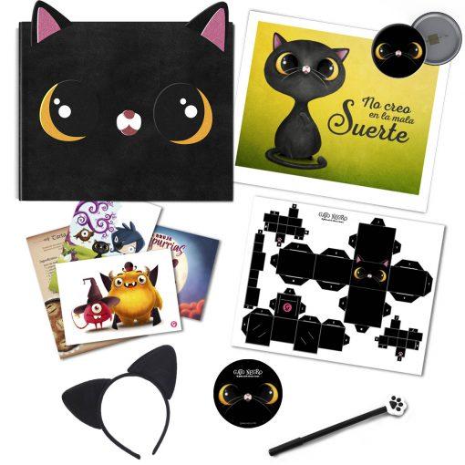 Gato negro terciopelo+postales+cubecraft+diadema+lapicero+chapa+lamina de regalo