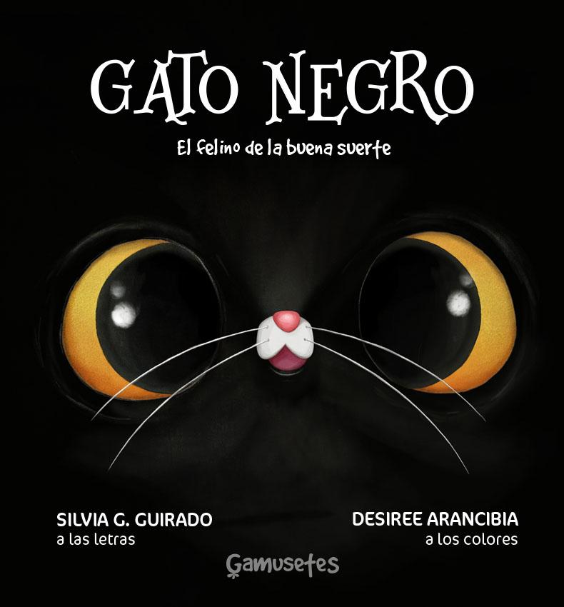 Gato negro con mirada tierna ilustración de cuento infantil primaria mala suerte supersticiones amor por los animales
