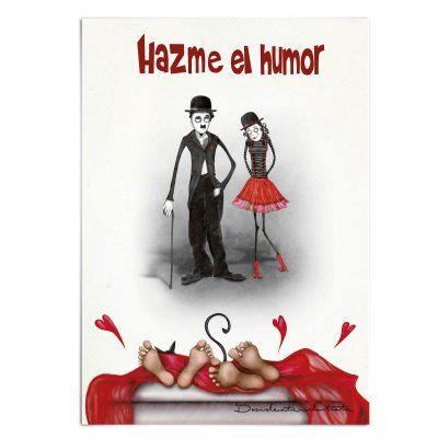lámina hazme el humor, chaplín, 14 de febrero regalo libro amor y humor, charles chaplin