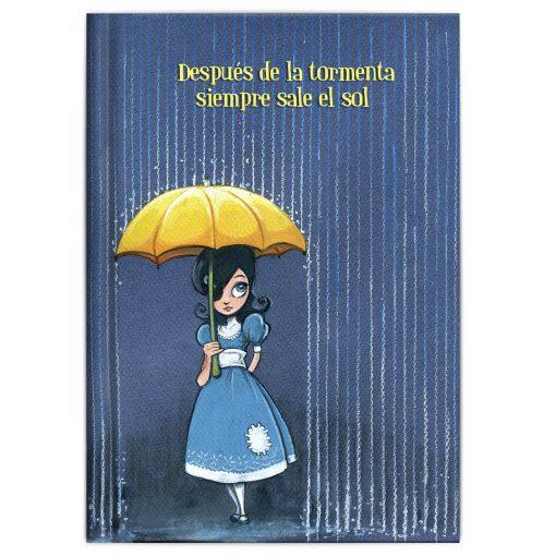 Niña del parche vestido azul paraguas amarillo ilustración colores olvidados gouche acuarelas carmesina niña del parche regalo lectura primaria