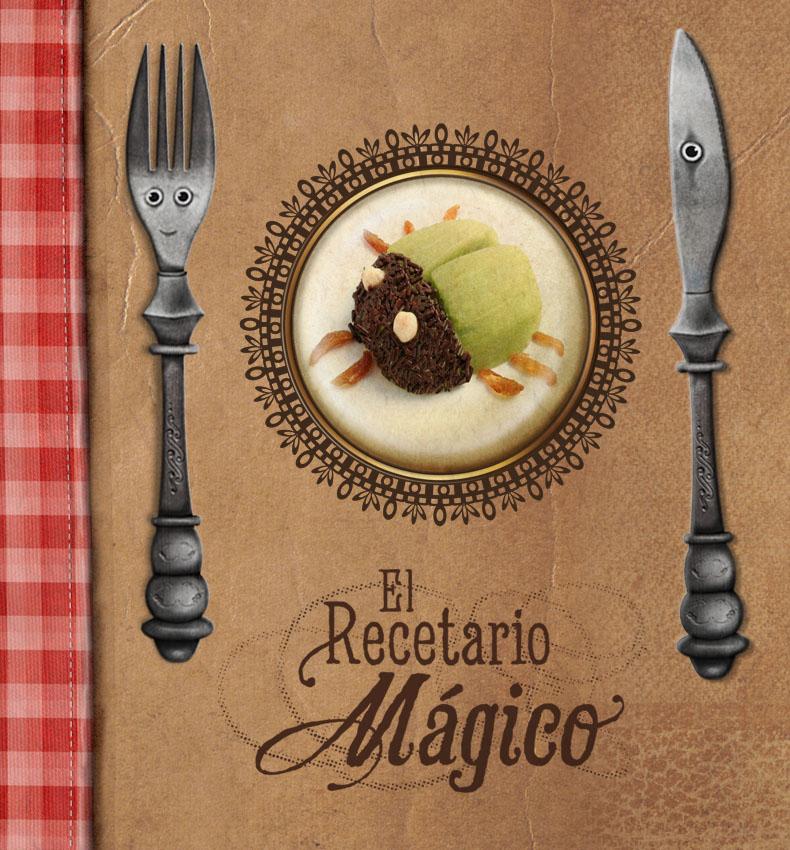El recetario mágico es un libro de cocina divertida y saludable, kiwi con forma de escarabajo, frutas, platos divertidos, libro viejo de recetas para niños