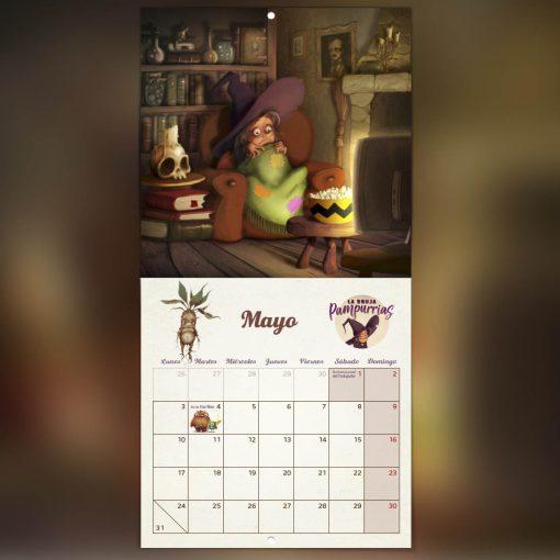 calendario de mayo bruja Pampurrias días festivos cuento ilustrado 2021
