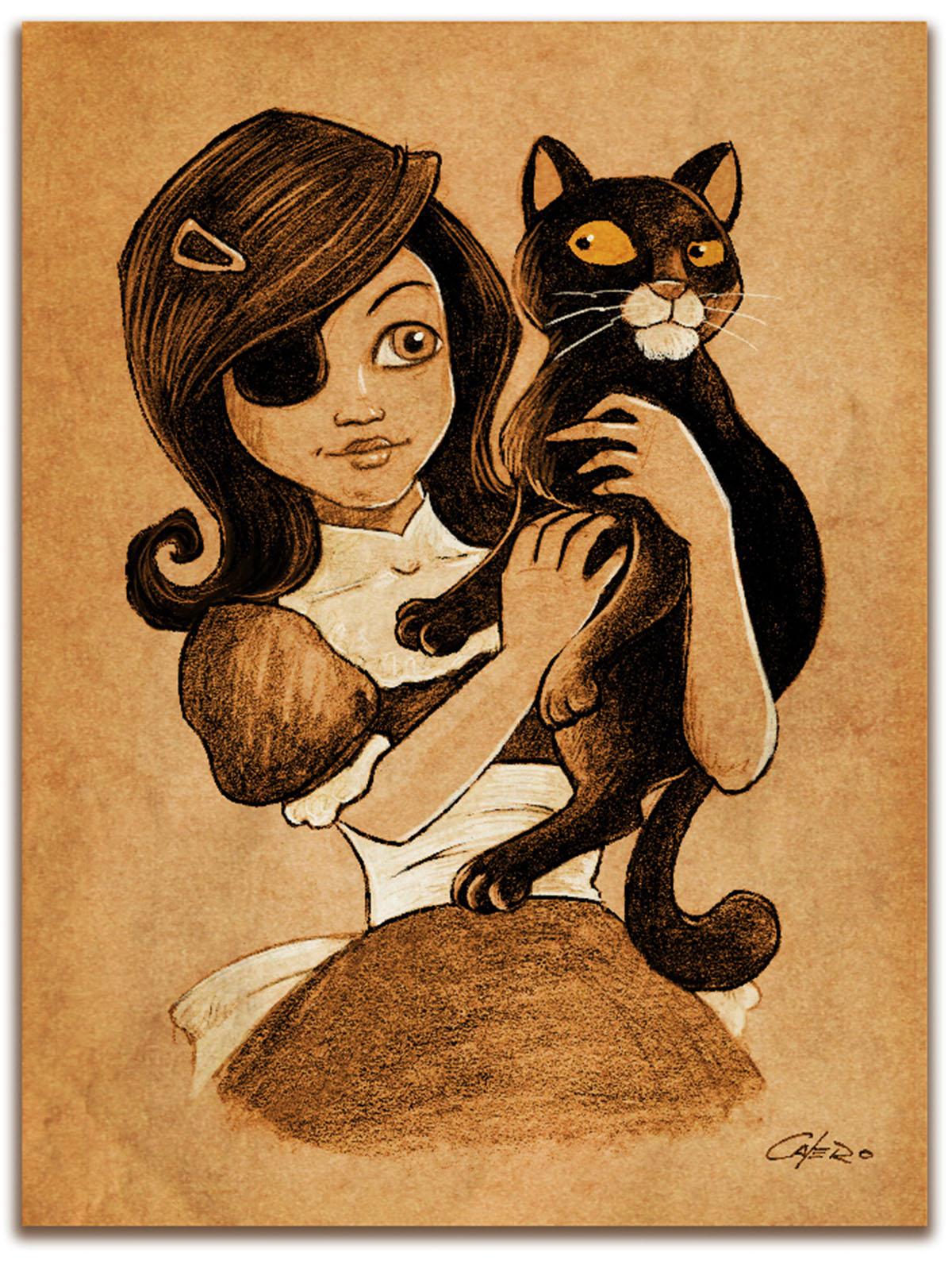 homenaje a carmesina en lápiz, ilustrador miguel calero, niña del parche con un gato negro. en colores marrones y sepia y blanco.