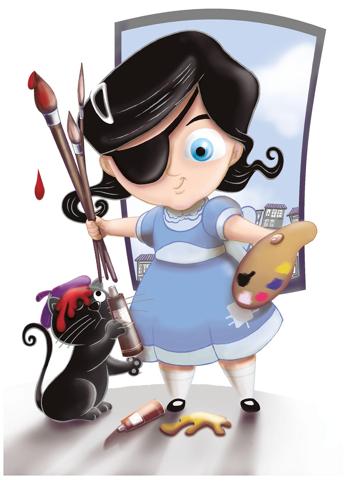 Ilustración de Carmesina y gato negro por quiel ramos, pinceles, colores, gato negro, niña del parche con vestido azul quiere pintar con muchos colores