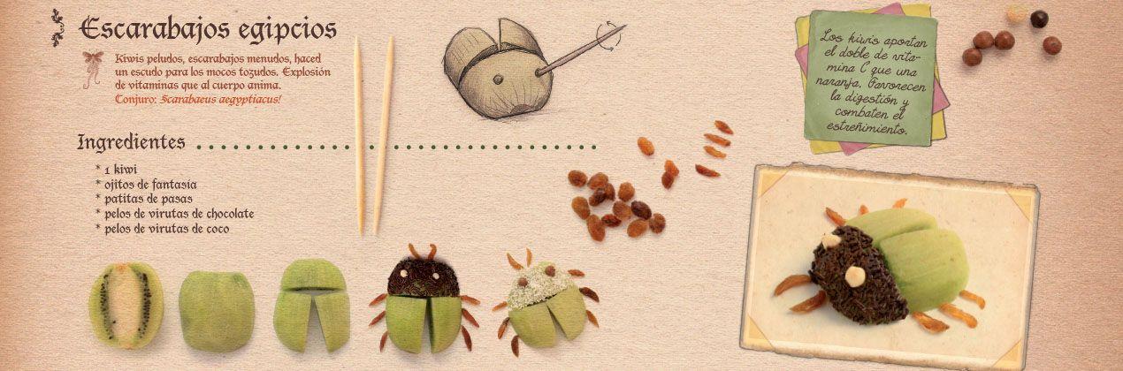 Receta escarabajos de kiwi niños